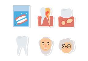 Etiquetas de dentes falsos planos vetor