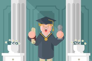 Graduado com Diploma Ilustração vetor
