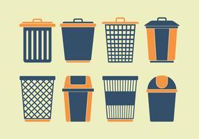 Conjunto de ícones de cesta de lixo vetor