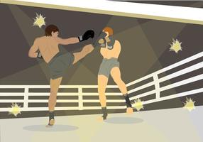 Muay Thai Fighters in Ring Vector