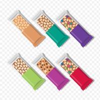 Barras De Granola Em Conjunto De Embalagem Diferente vetor