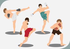 Vetores da Pose de Muay Thai