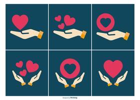 Coleção de ícones de mão de cura vetor