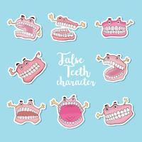 Vetor de desenhos animados de dentes falsos