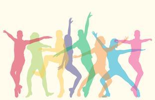 Pessoas que executam várias silhuetas de danças vetor