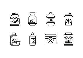 Suplemento conjunto de ícone linear