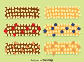 Barras de granola no vetor verde