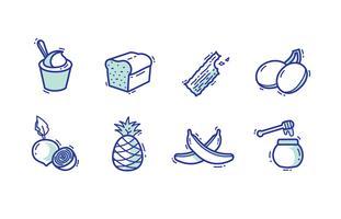 Pacote de ícones de comida doce vetor