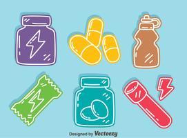 Vetor colorido dos ícones do suplemento