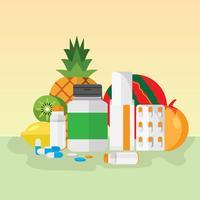 Ilustração de suplementos saudáveis