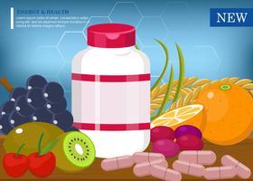 Vetor saudável de suplementos de frutas orgânicas