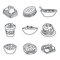 Doodles de café da manhã vetor