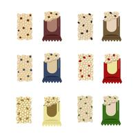 Barras de granola coloridas vetor