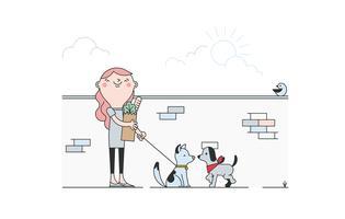 vetor de cachorro caminhando livre