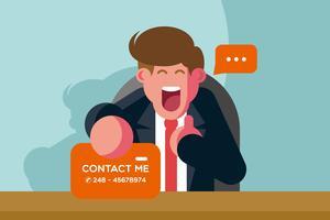 Homem de negócios que faz a ilustração de contatos vetor