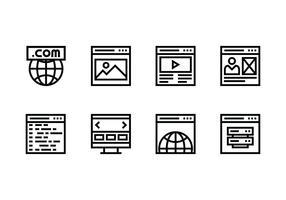 Ícone linear do conjunto de sites vetor