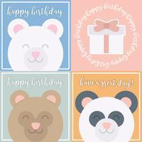 Cartões de aniversário bonitos do urso do vetor