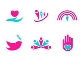 Vetores de logotipo de bondade e caridade