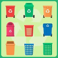 Conjunto de lixo de reciclagem vetor