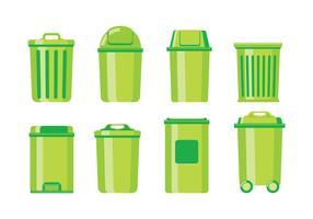Lata de lixo e cesta de lixo vetor