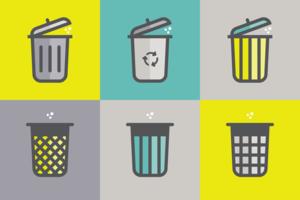 Ícones da cesta de lixo vetor