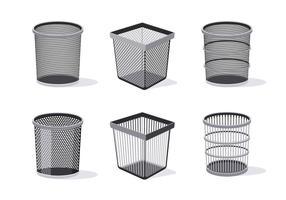 Ilustração da coleção de cesta de lixo vetor