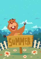 Gopher com sinal de verão vetor