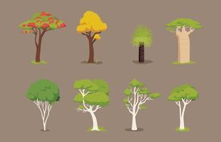 Vários itens vetoriais da árvore
