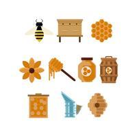 Vector de ícones coloridos de apicultura grátis