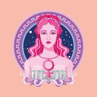 Close-up Birth of Greek Goddess Afrodite vetor