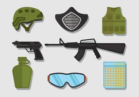 Conjunto de ícones Airsoft vetor