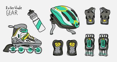 Rollerblade Safety Gear Ilustração desenhada mão do vetor
