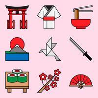 Ícones de tema japonês vetor