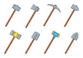 conjunto de ferramentas de marreta vetor