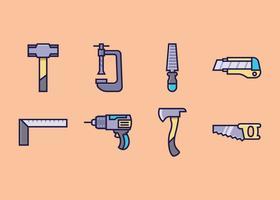 Conjunto de ícones de ferramentas manuais vetor