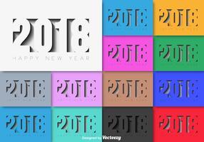 2018 Feliz ano novo vetor conjunto de fundo colorido