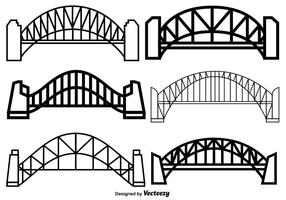 Conjunto De Vetores De Ícones De Ponte De Porto