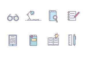 Ícones de leitura de livros vetor