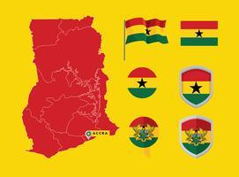 Mapa do Gana Vector Gratuito