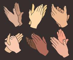 Mãos aplaudindo ícones vetoriais vetor