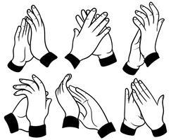 Mãos aplaudindo ícones vetoriais