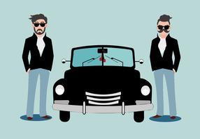 Greaser livre parado atrás do vetor do carro clássico
