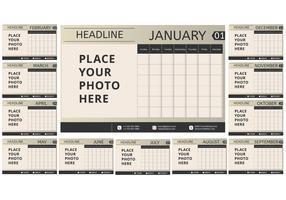 Calendário mensal para impressão vintage vetor