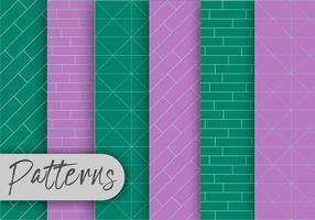 Conjunto de padrões verdes e violetas vetor