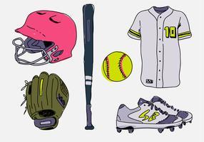 Softball Stuff Starter Pack Hand Drawn Ilustração vetorial vetor