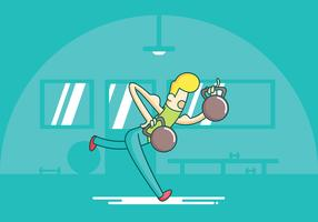 kettlebell swings exercise vetor