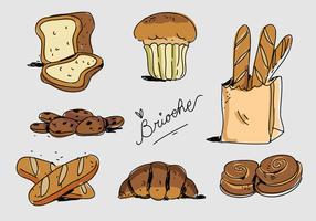 Ilustração francesa do vetor desenhada mão do Brioche da padaria francesa