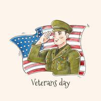 Soldado americano de vetores com bandeira americana para o dia dos veteranos