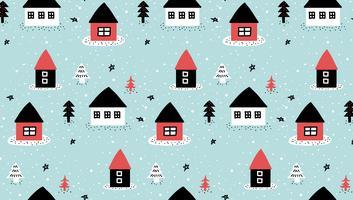 padrão de casa de inverno doodle vetor