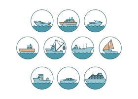 Vector grátis de ícones de navios e placas
